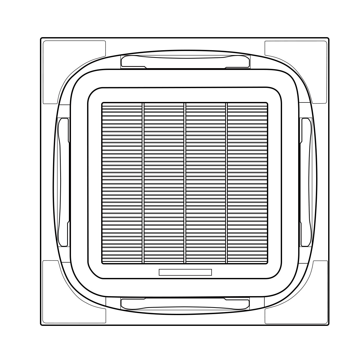 江蘇晟和空調在八面出風卡式風機盤管的面板設計上大下苦心!